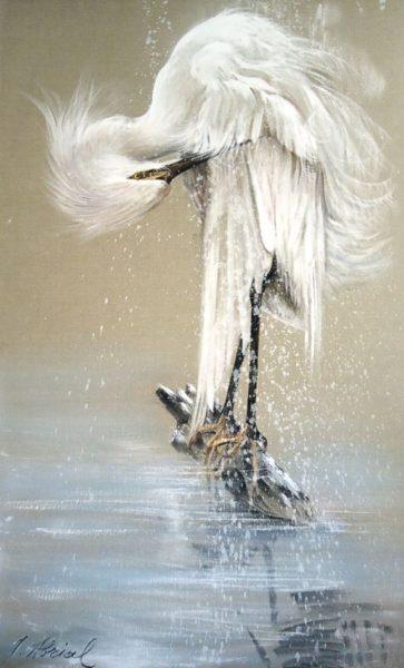 Héron sur Lac gelé