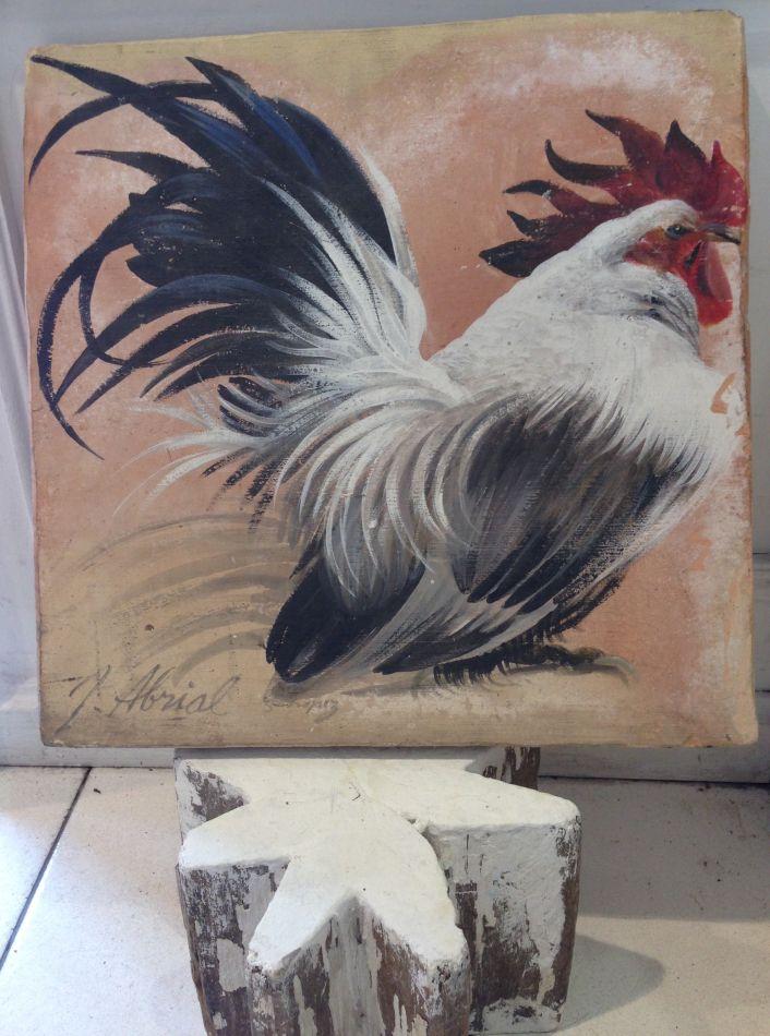 Coq peint sur terre cuite