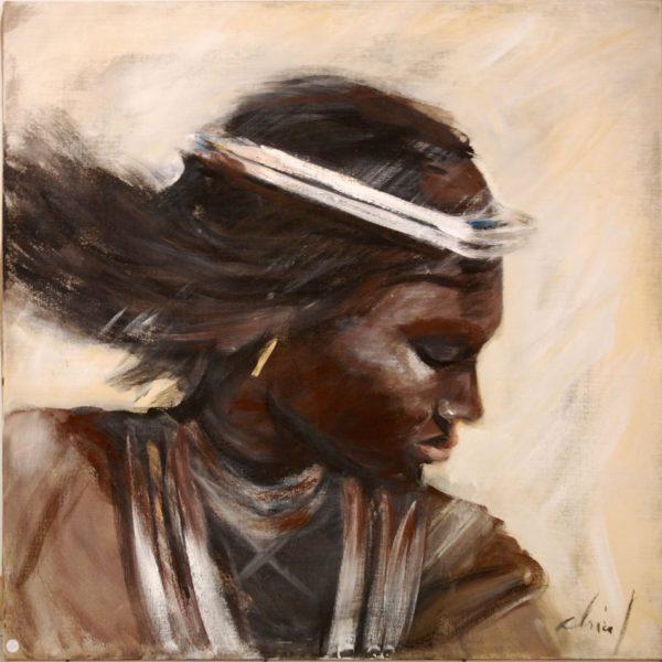 Africaine aux cheveux dans le vent