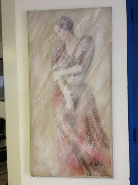Femme à la robe rose