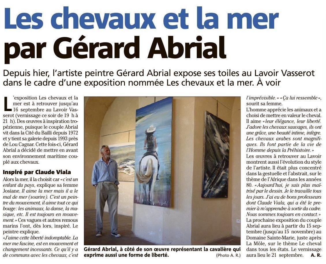 Les chevaux et la Mer , Gérard ABRIAL peintre à Saint Tropez