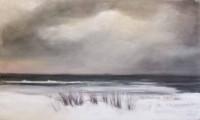 Mer enneigée sous ciel d'orage