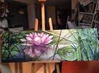 Lotus rose flottant
