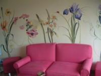Fleurs sur mur