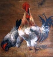 Coq Peint sur bois