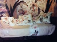 """Drap King size """"Lilium rose"""". Peint sur soie."""