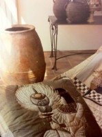 """Ensemble de chambre en soie peints à la main """"Egypte antique"""""""