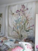 """Ensemble de chambre en soie peints à la main """"Libellules dans les iris"""""""