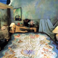 """Ensemble de chambre en soie peints à la main """"Le monde sous-marin"""""""